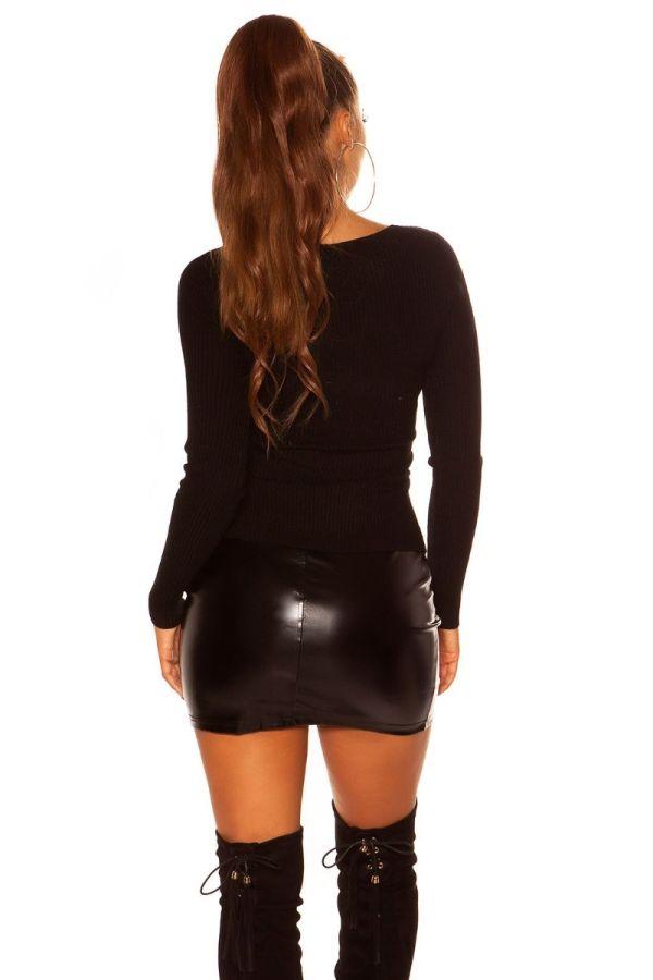 πουλόβερ πλεκτό ασύμμετρο μαύρο.