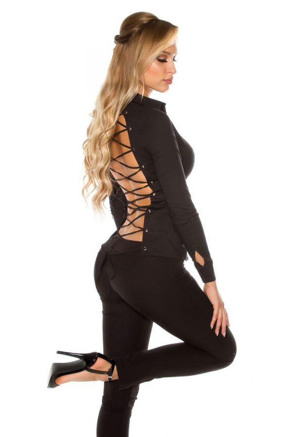 SHIRT LONG SLEEVES OPEN BACK CUTOUTS BLACK ISDF213011