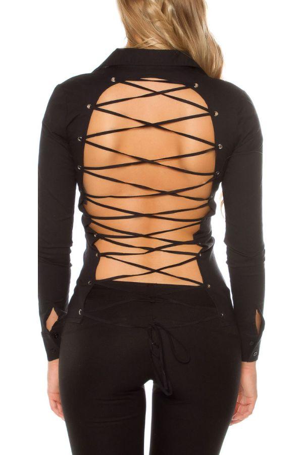 πουκάμισο μακριά μανίκια σέξυ πλάτη εγκοπές μαύρο.