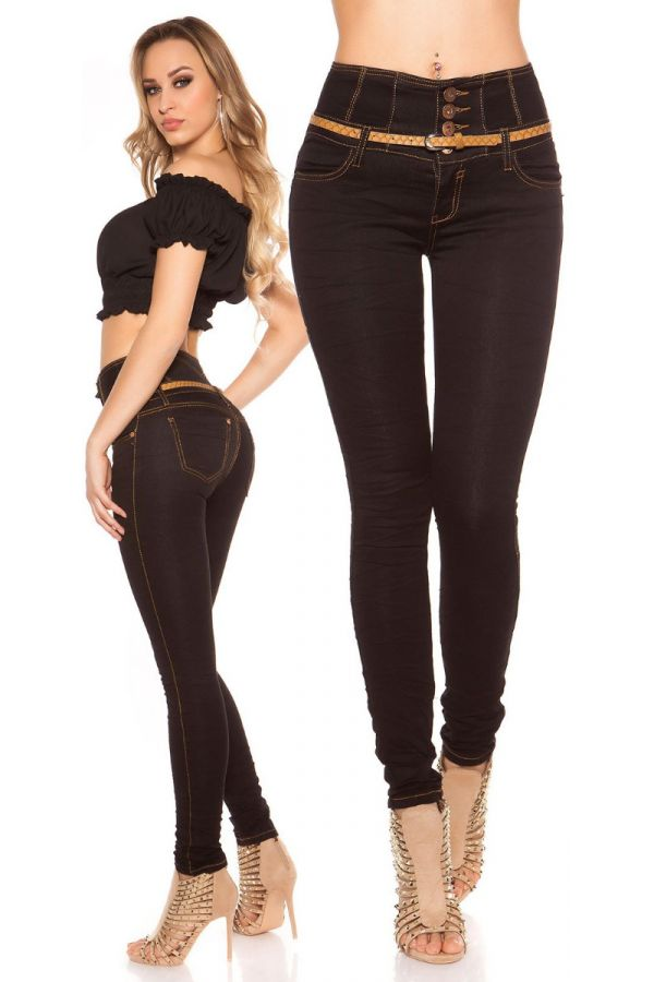 PANTS JEAN HIGH WAIST SKINNY BLACK ISDK27999