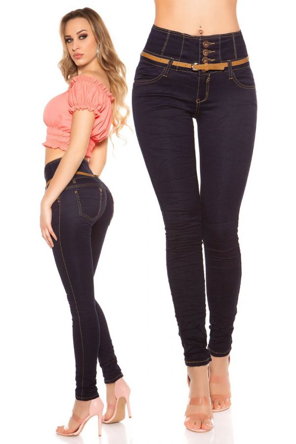 PANTS JEAN HIGH WAIST SKINNY BLUE ISDK26000