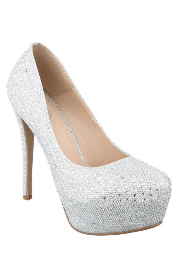 PSW10520 PUMP BRIDAL STRASS SILVER