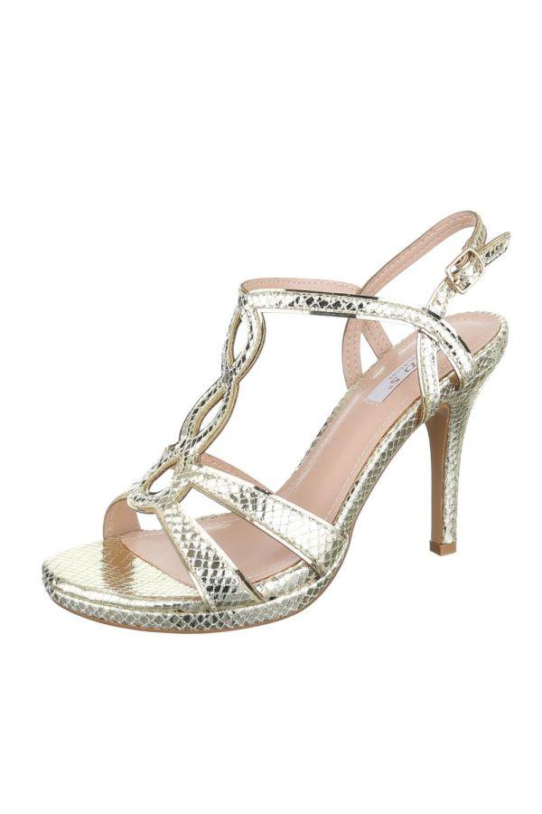 formal sandals croco gold
