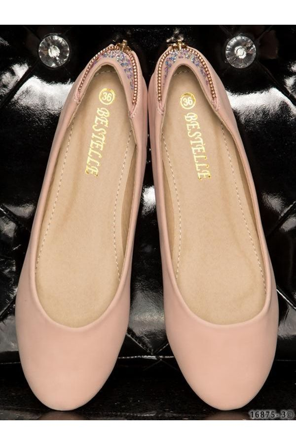 ballerina shoes decorated with zipper back and strass apricot