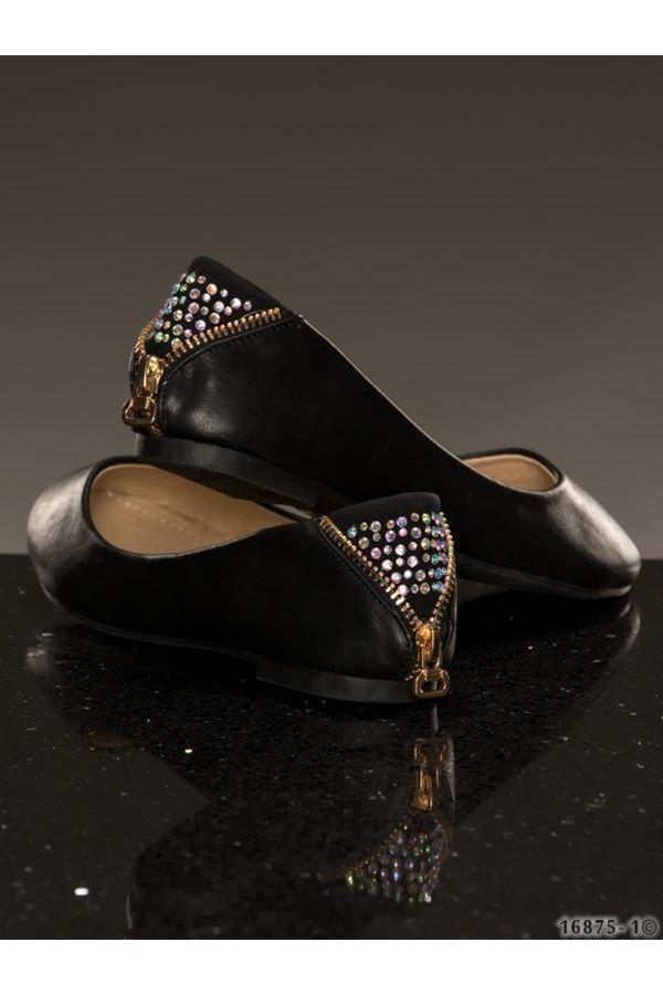 μπαλαρίνα παπούτσι διακοσμημένη με φερμουάρ και στράς πίσω μαύρη