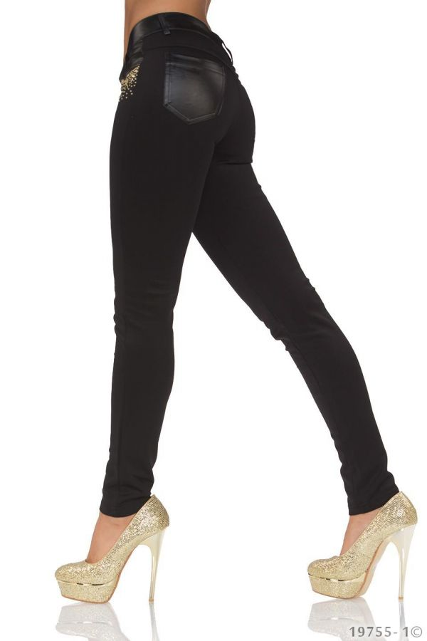 pants exclusive decorated with gold studs and shiny panels black