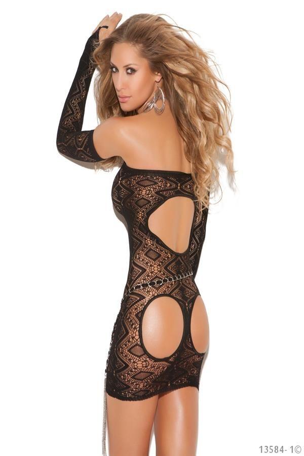 leg avenue sexy transpared dress with black