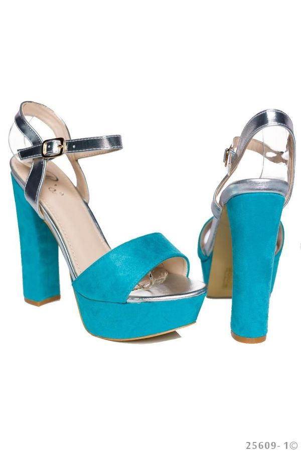 high heel sandals with platform patent turquoise silver