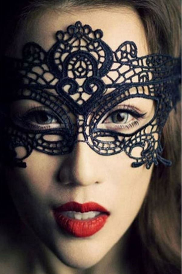 QUEEN MASK LACE BLACK DER208227