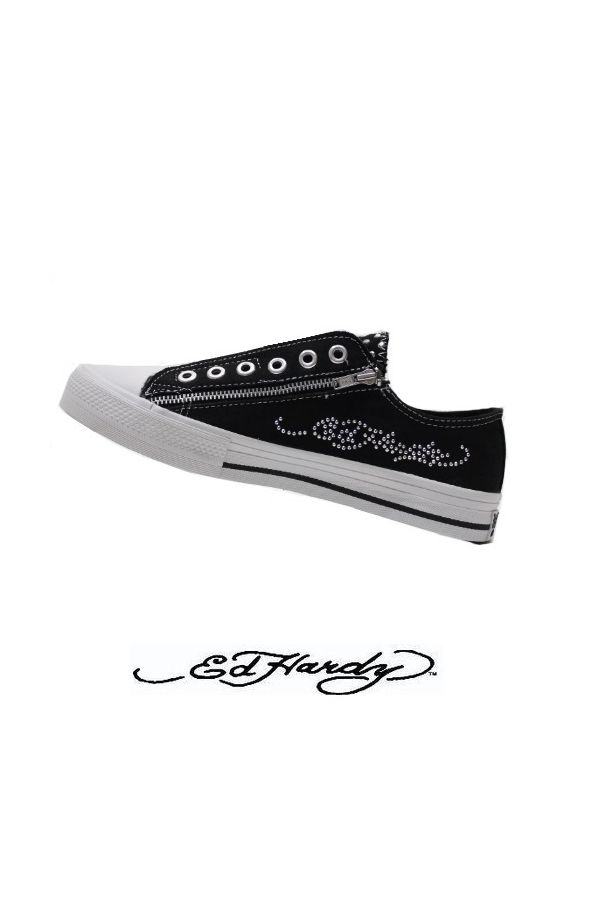ed hardy original athletic sport shoe sneaker decorated with strass black white