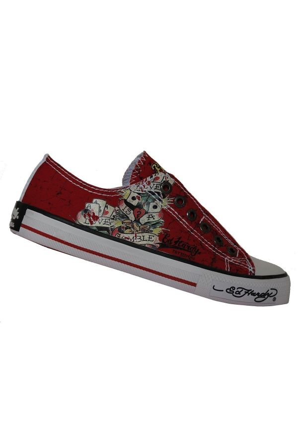 ed hardy original athletic sport shoe sneaker decorated with printing design without cords red white
