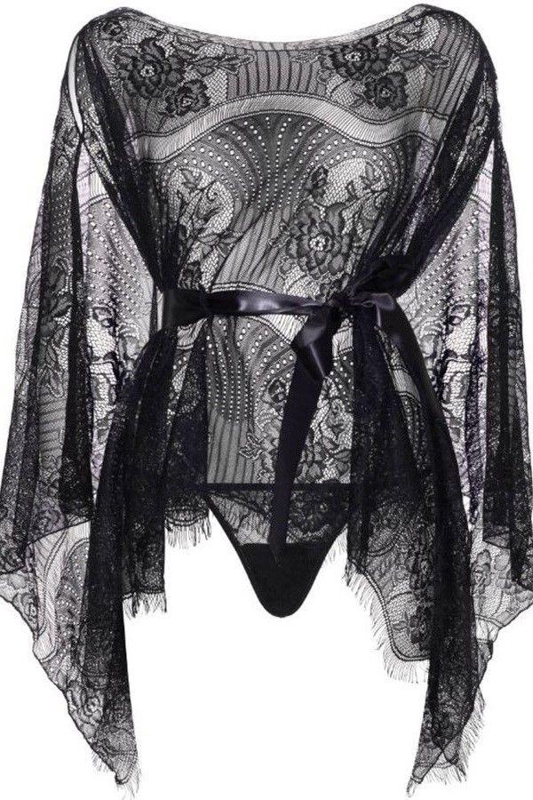 robe nightdress lace string sexy leg avenue black.
