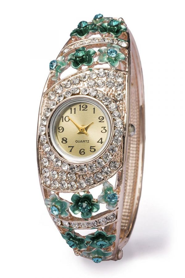 χρυσό ρολόι βραχιόλι διακοσμημένο πράσινα floral στοιχεία στρας βραδινό αξεσουάρ χέρι