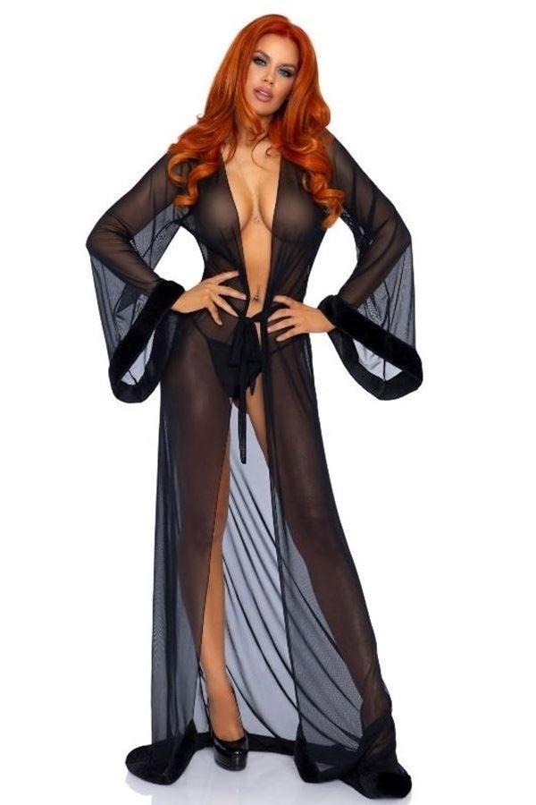 ROBE NIGHT DRESS LONG FUR BLACK DRED221945