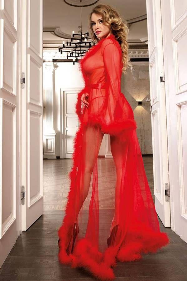ρόμπα μακριά exclusive γούνα κόκκινη.