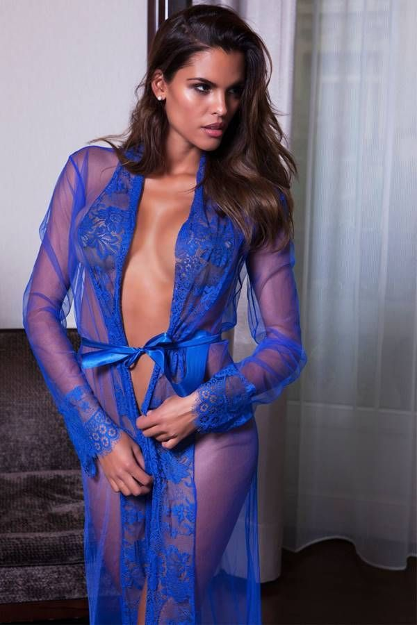 robe long exclusive transparency lace blue.