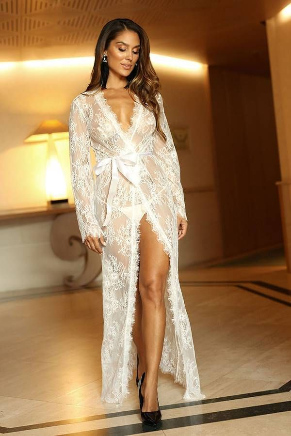 Robe Long String Transparency Lace White GTOJ560I2IS