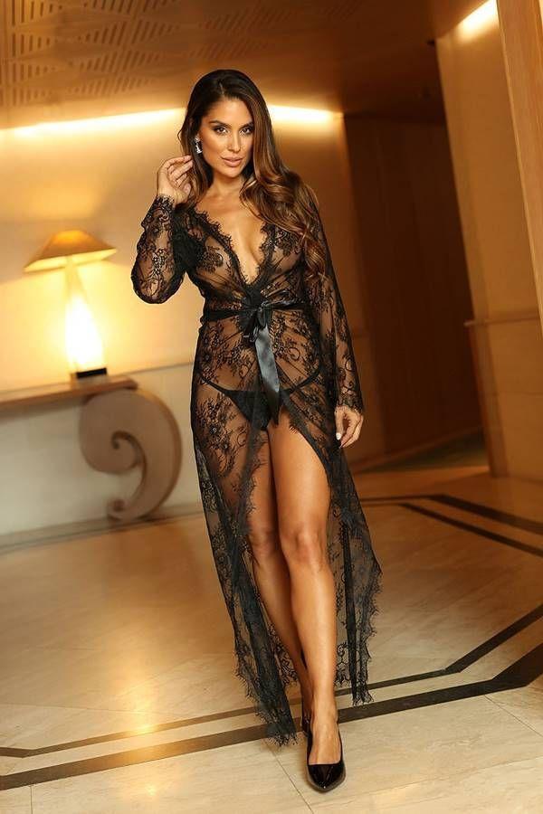 Robe Long String Transparency Lace Black GTOJ560I1IS