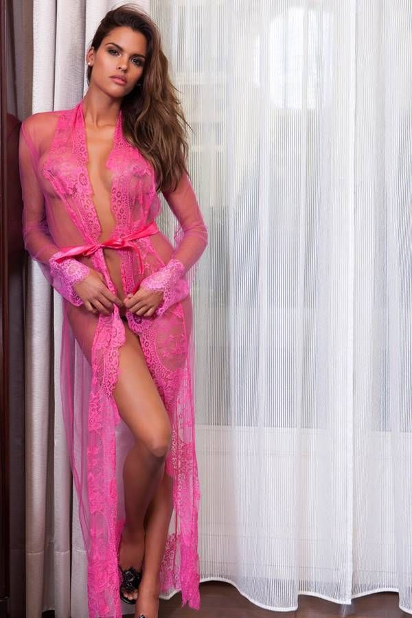 Robe Long Exclusive Transparency Lace Pink GTO507I3IS