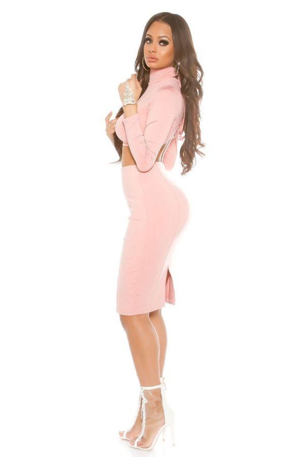 pencil ροζ φούστα γόνατο σκίσιμο πίσω.