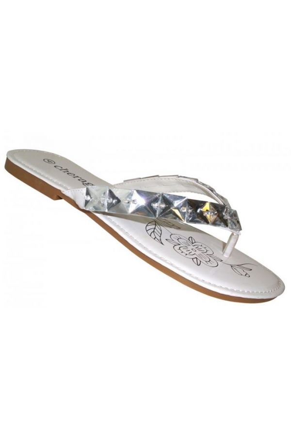 flip flop with flat heel decorated with stones white