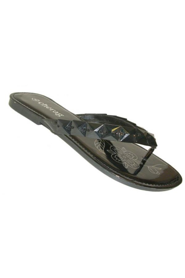 flip flop with flat heel decorated with stones black