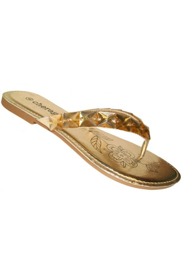 flip flop with flat heel decorated with stones gold