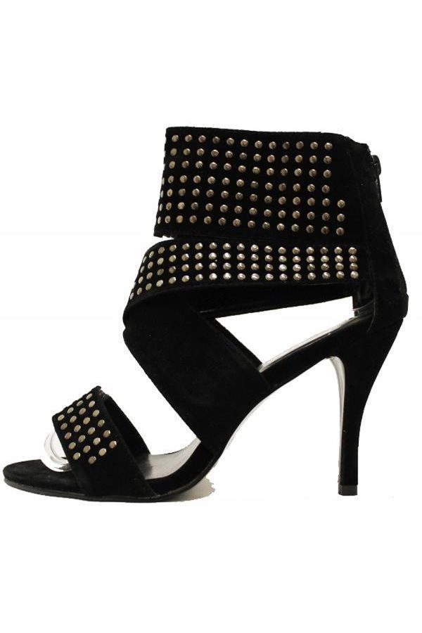 suede sandal decorated with silver studs middle heel black