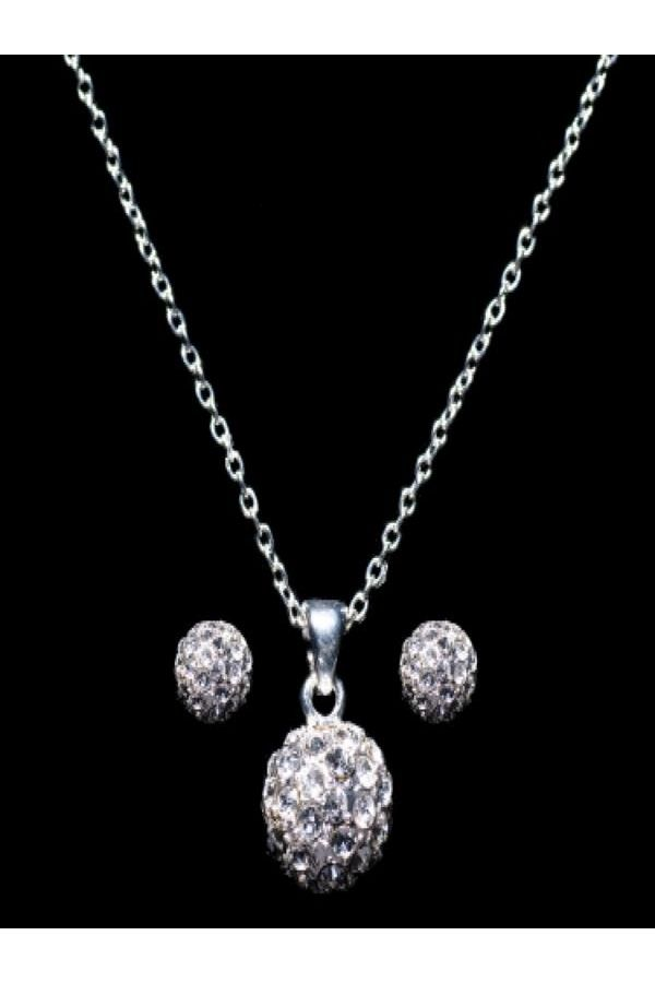 JEWEL SET NECKLACE EARRINGS SILVER S2955