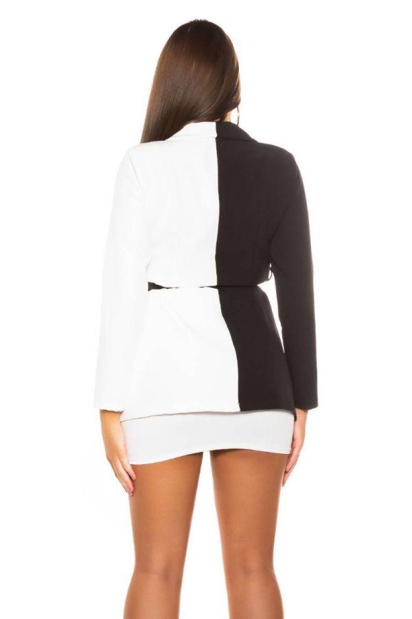 blazer bicolored belt black white.