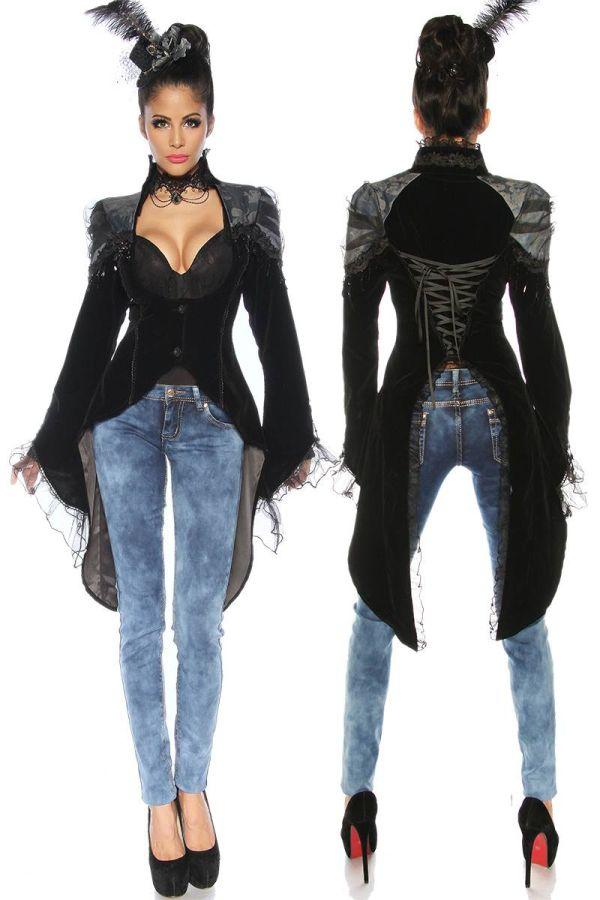 Blazer Frack Gothic Long Back Stand Up Collar Black AT1413081