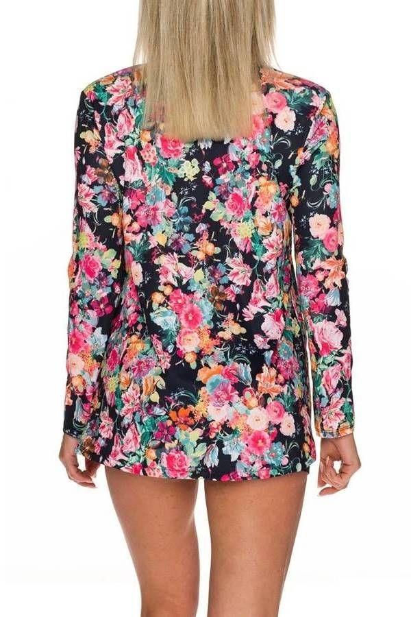 Blazer Summer Colorful Floral Black QQ1725757