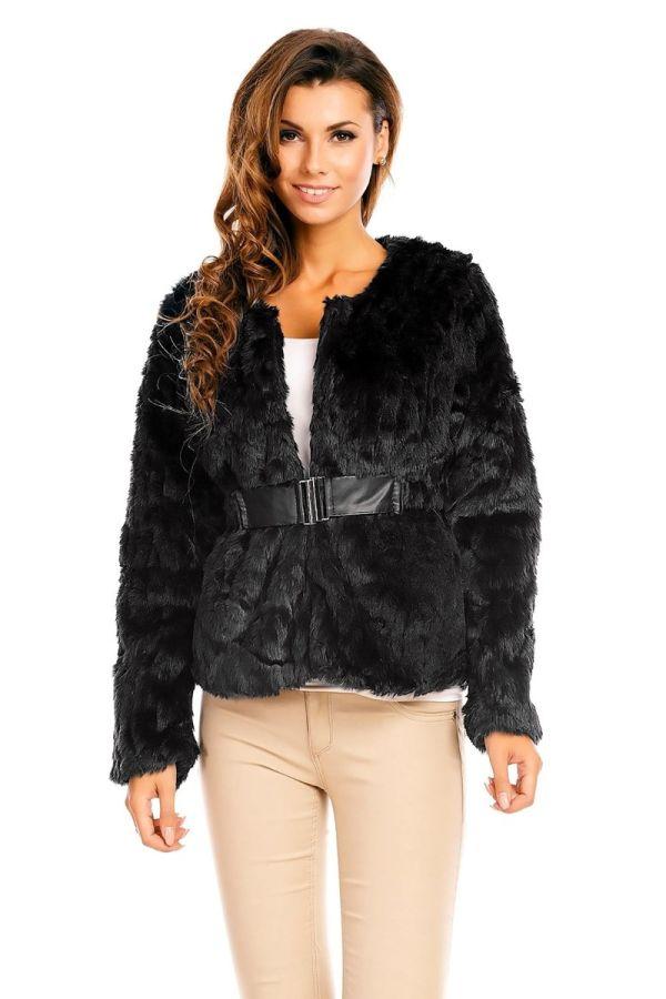 μαύρο γούνινο βραδυνό σακάκι με ζώνη.