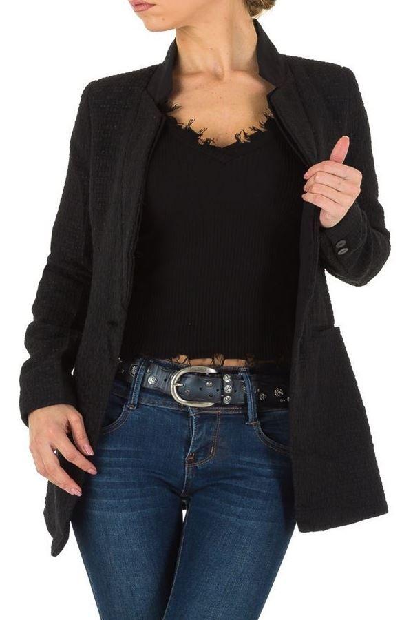 εντυπωσιακό μαύρο μακρύ σακάκι με κουμπί.