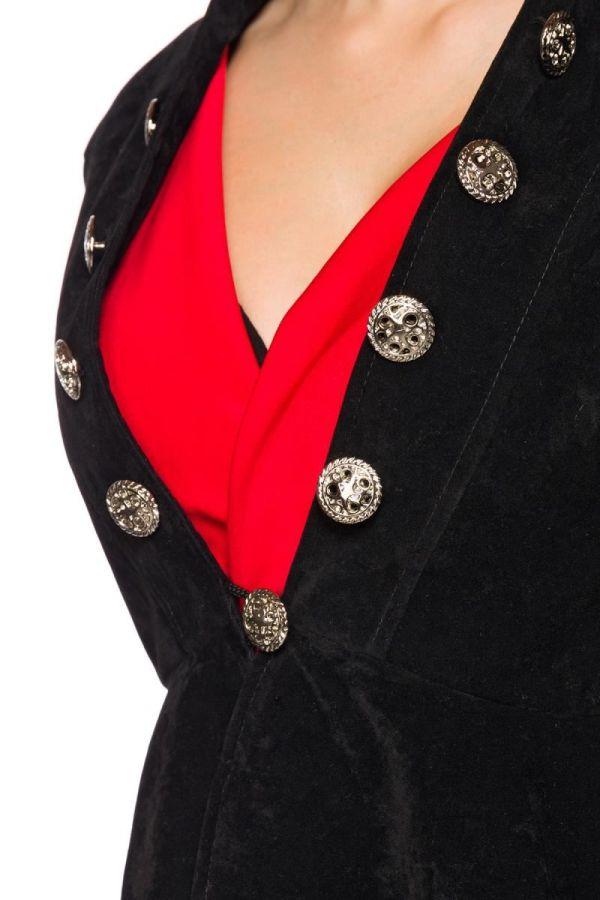 μαύρο βελούδο σακάκι μακρύ πίσω με μεταλλικά κουμπιά και όρθιο γιακά