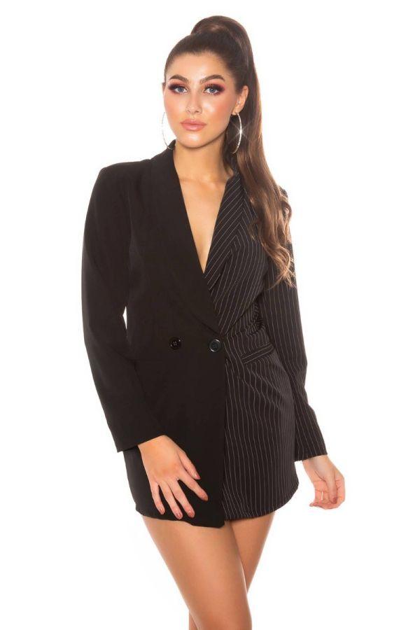 blazer long double breasted grey stripe black.