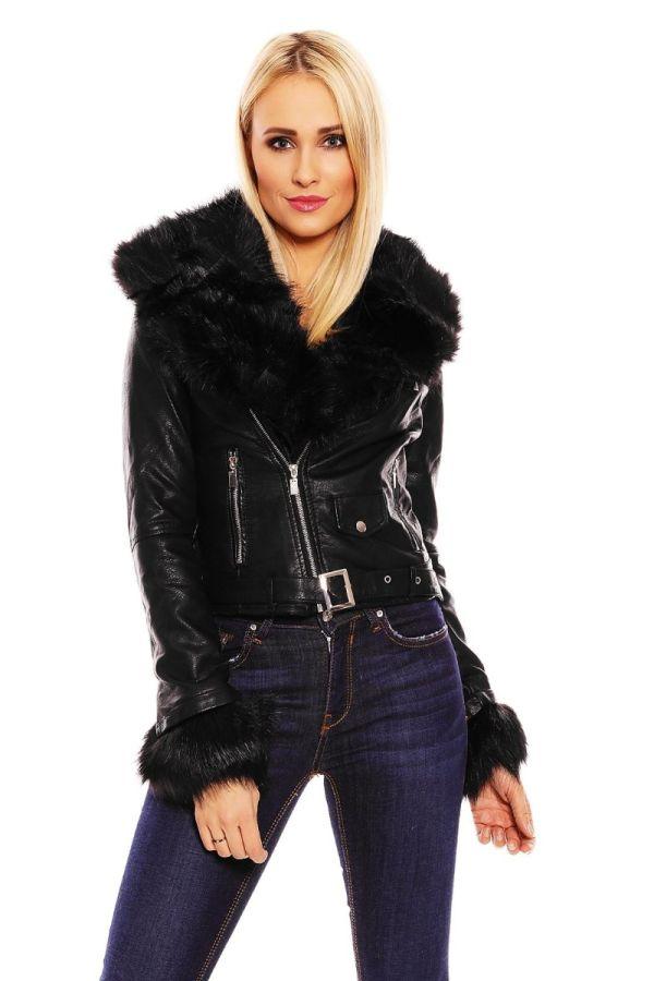 δερματίνη μαύρο σακάκι με γούνα στον γιακά και στα μανίκια.