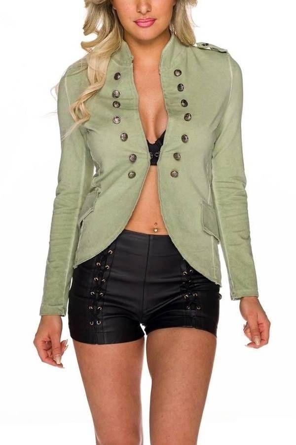 Blazer Sport Stand Up Collar Metallic Buttons Olive QQ1725622