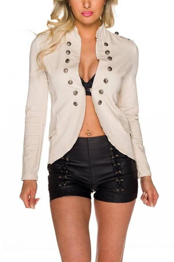 Blazer Sport Stand Up Collar MEtallic Buttons Beige QQ1725622
