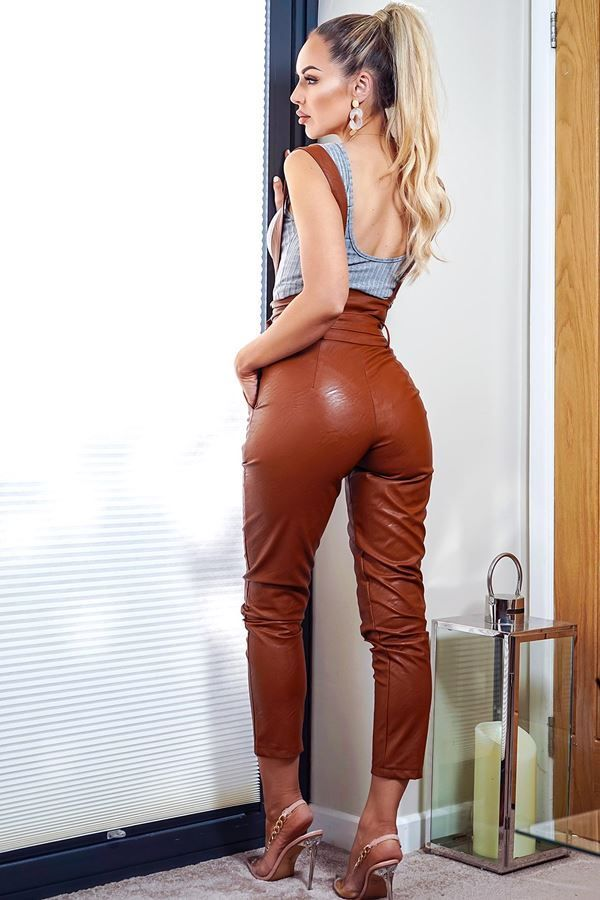 DUNGAREE TROUSERS HIGH WAIST LEATHERETTE CAMEL CAT20WSTA