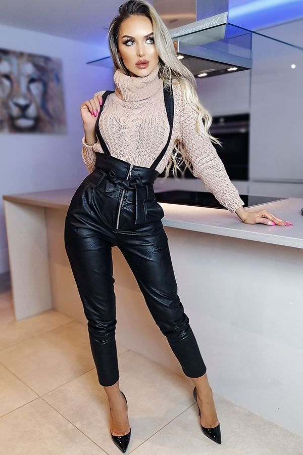 DUNGAREE TROUSERS HIGH WAIST LEATHERETTE BLACK CAT20WSTA