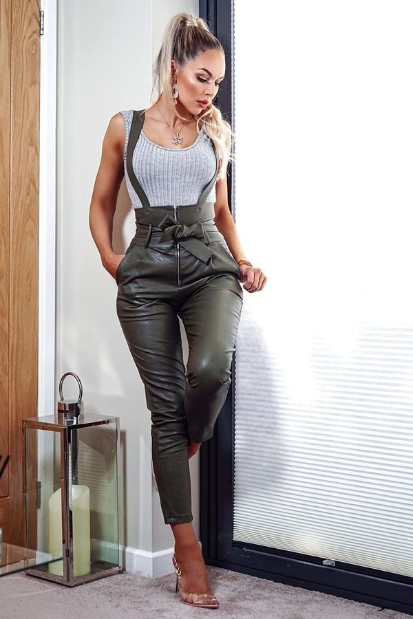 DUNGAREE TROUSERS HIGH WAIST LEATHERETTE OLIVE CAT20WSTA