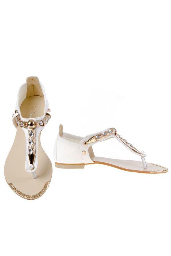 flat sandal evening golden decoration white.