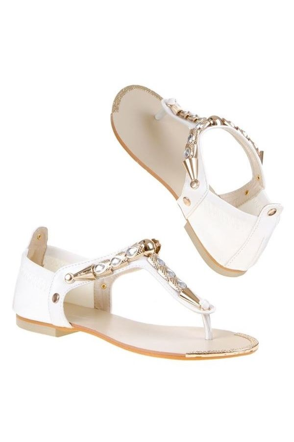 FLAT SANDAL EVENING GOLDEN DECORATION WHITE SW1691