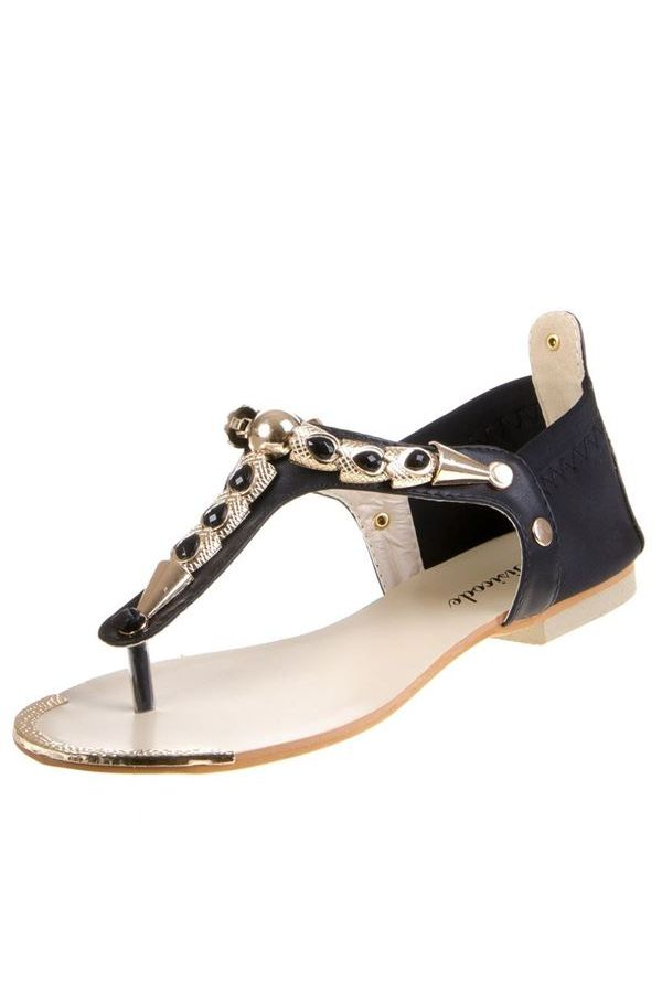 FLAT SANDAL EVENING GOLDEN DECORATION BLACK SW1691
