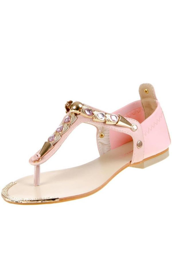 FLAT SANDAL EVENING GOLDEN DECORATION PINK SW1691
