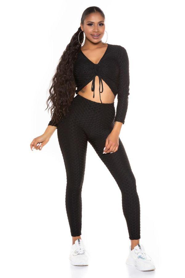 set crop top leggings sexy black.