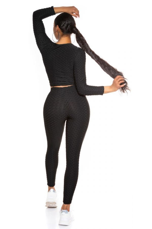SET CROP TOP LEGGINGS SEXY BLACK ISDT78100