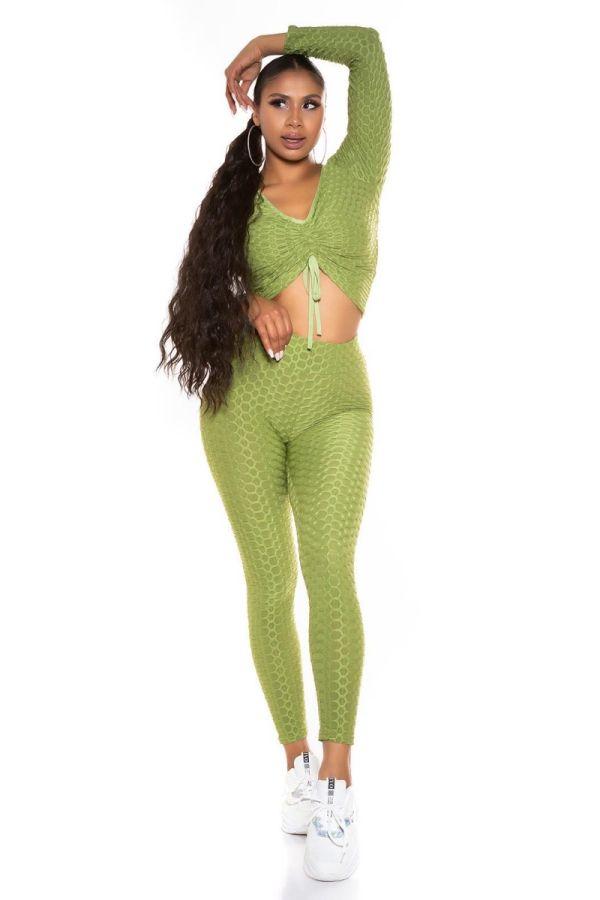 set crop top leggings sexy green.