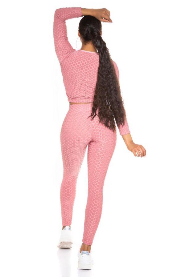 set crop top leggings sexy pink.